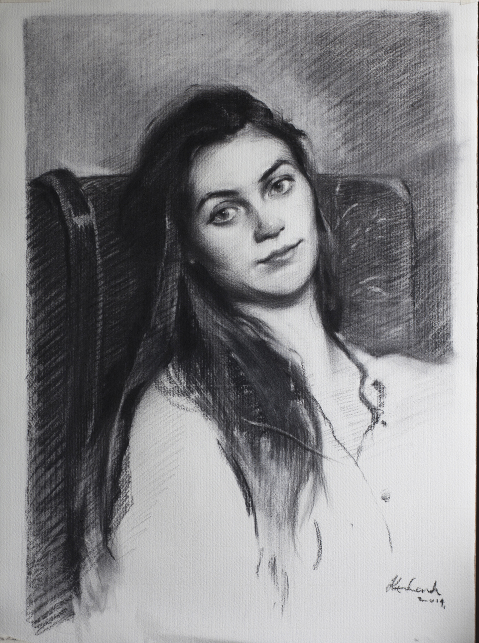 Lauran :   Charcoal on Paper. 43 x 65